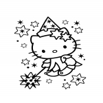 Coloriage Hello Kitty fée