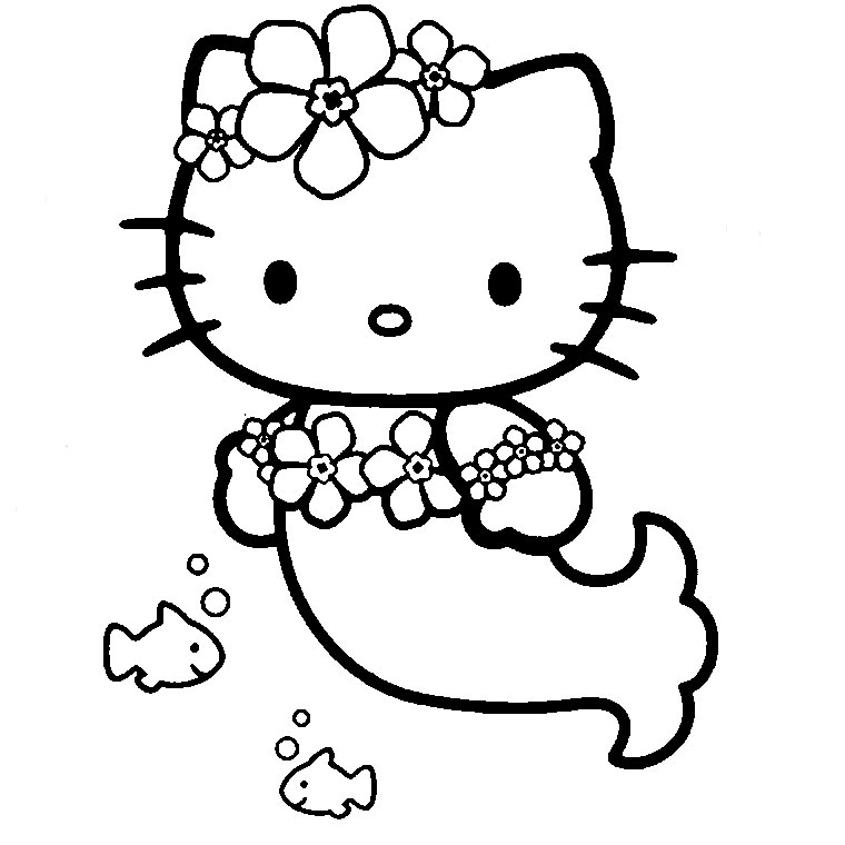 Coloriage Hello Kitty En Sirene A Imprimer Sur Coloriages Info