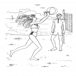 Coloriage Barbie joue au Volleyball