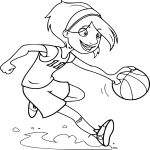 Coloriage Fille joue au Basketball