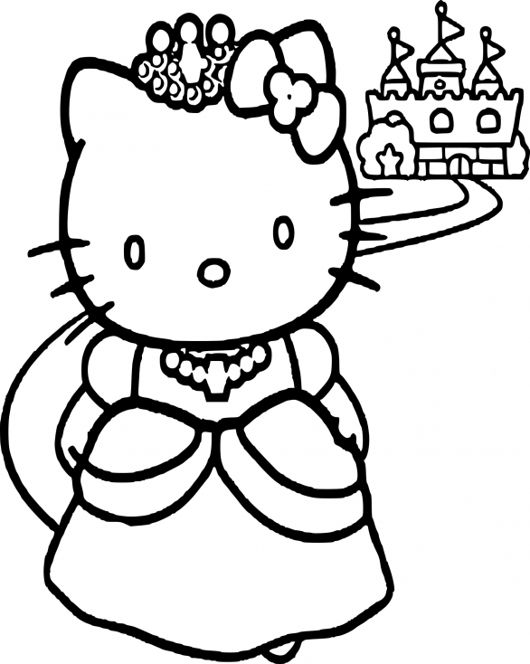 Coloriage hello kitty princesse dessin imprimer sur coloriages info - Coloriage hello kitty jeux ...