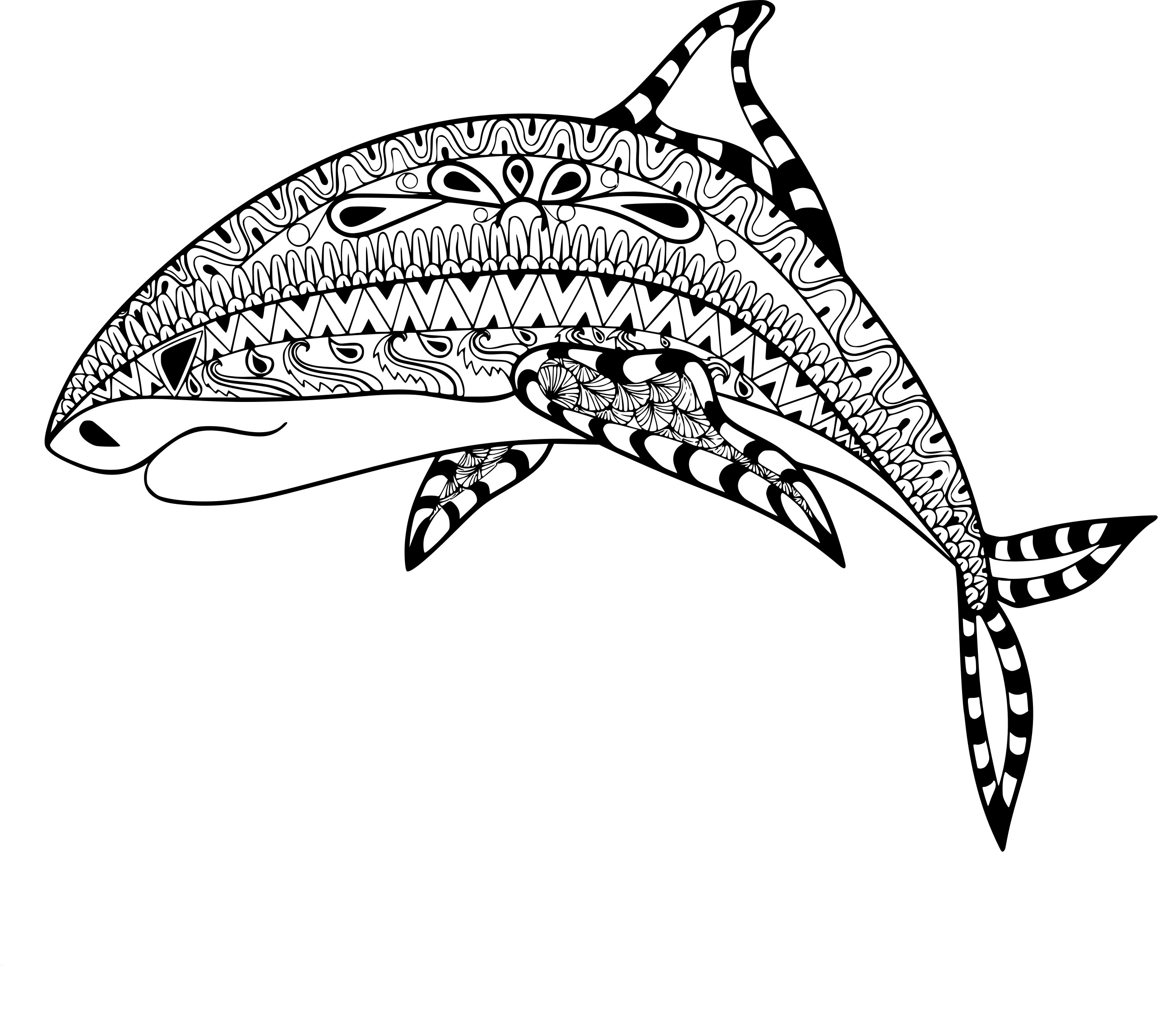 Coloriage anti stress requin - Anti coloriage ...