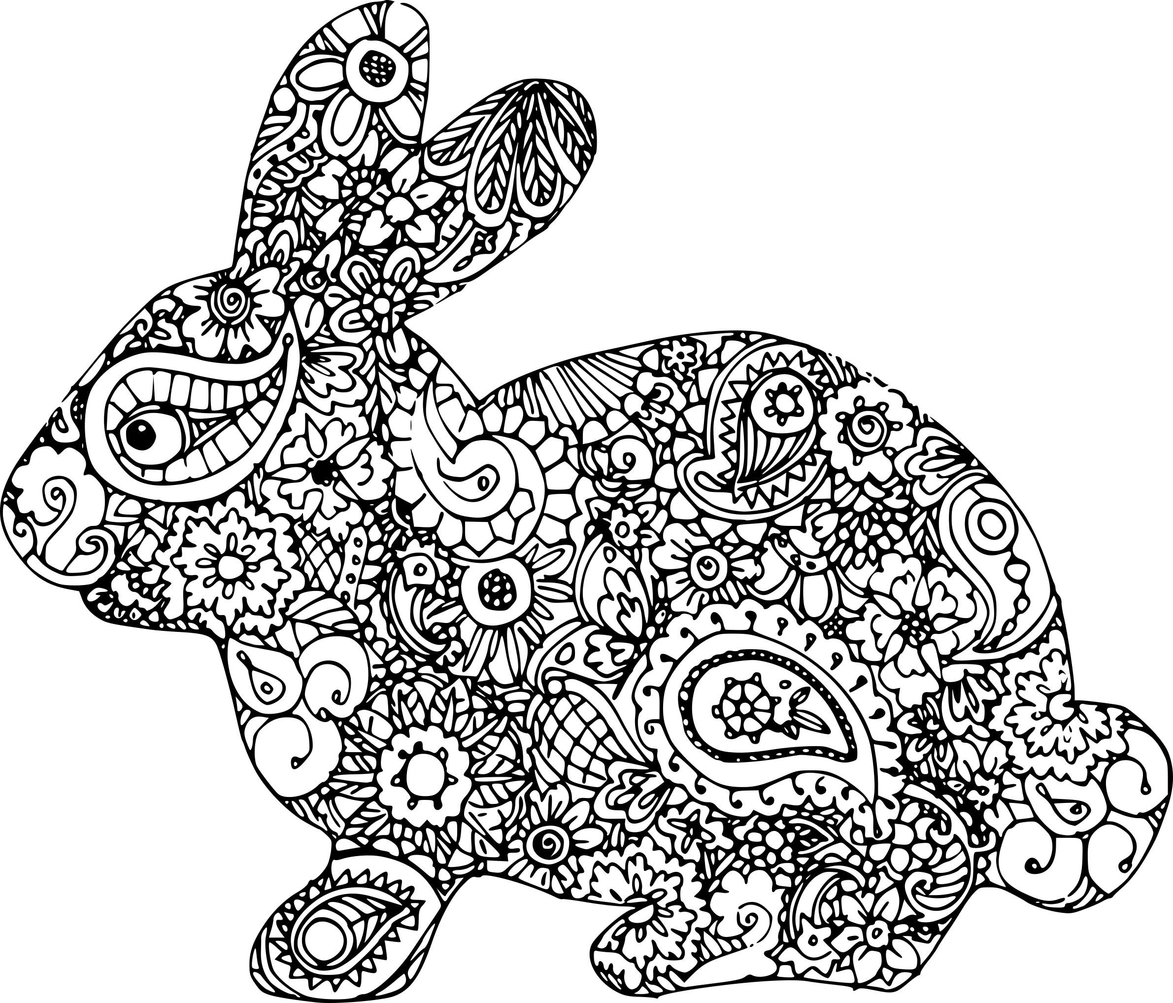 coloriage adulte lapin imprimer sur coloriages info. Black Bedroom Furniture Sets. Home Design Ideas