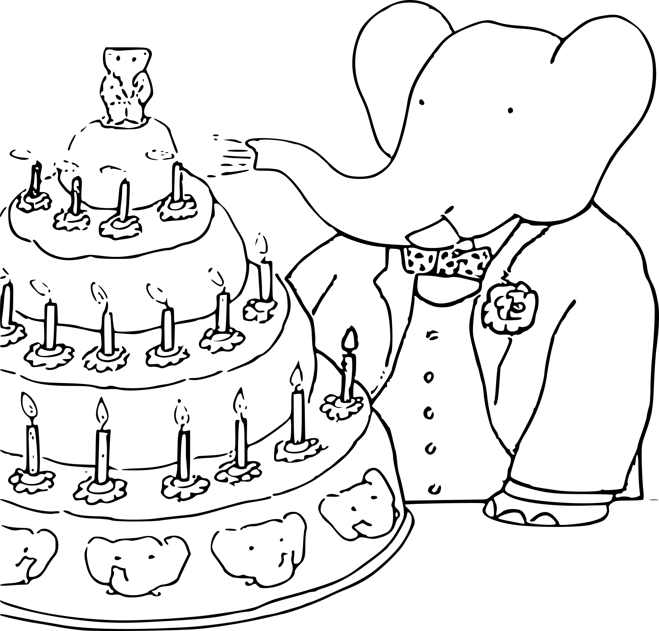 Coloriage Anniversaire Babar.Coloriage Anniversaire Babar A Imprimer Sur Coloriages Info