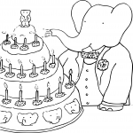 Coloriage Anniversaire Babar