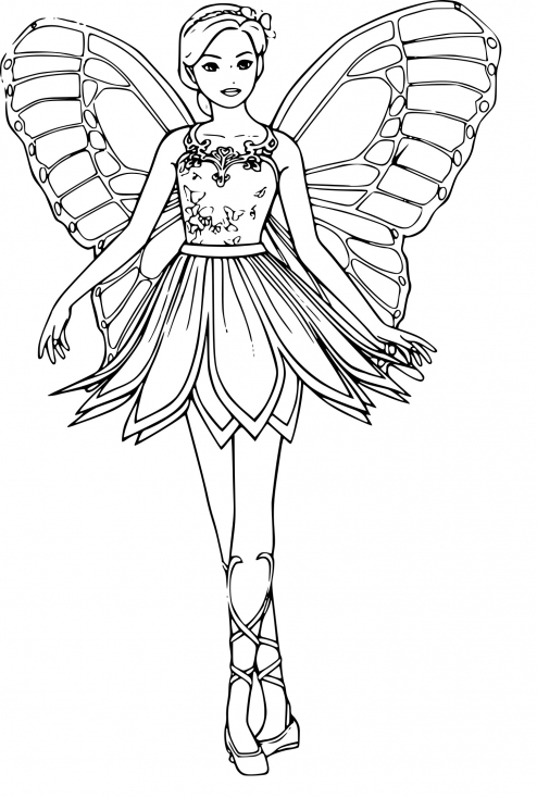 Coloriage barbie f e dessin imprimer sur coloriages info - Image de fee a colorier ...