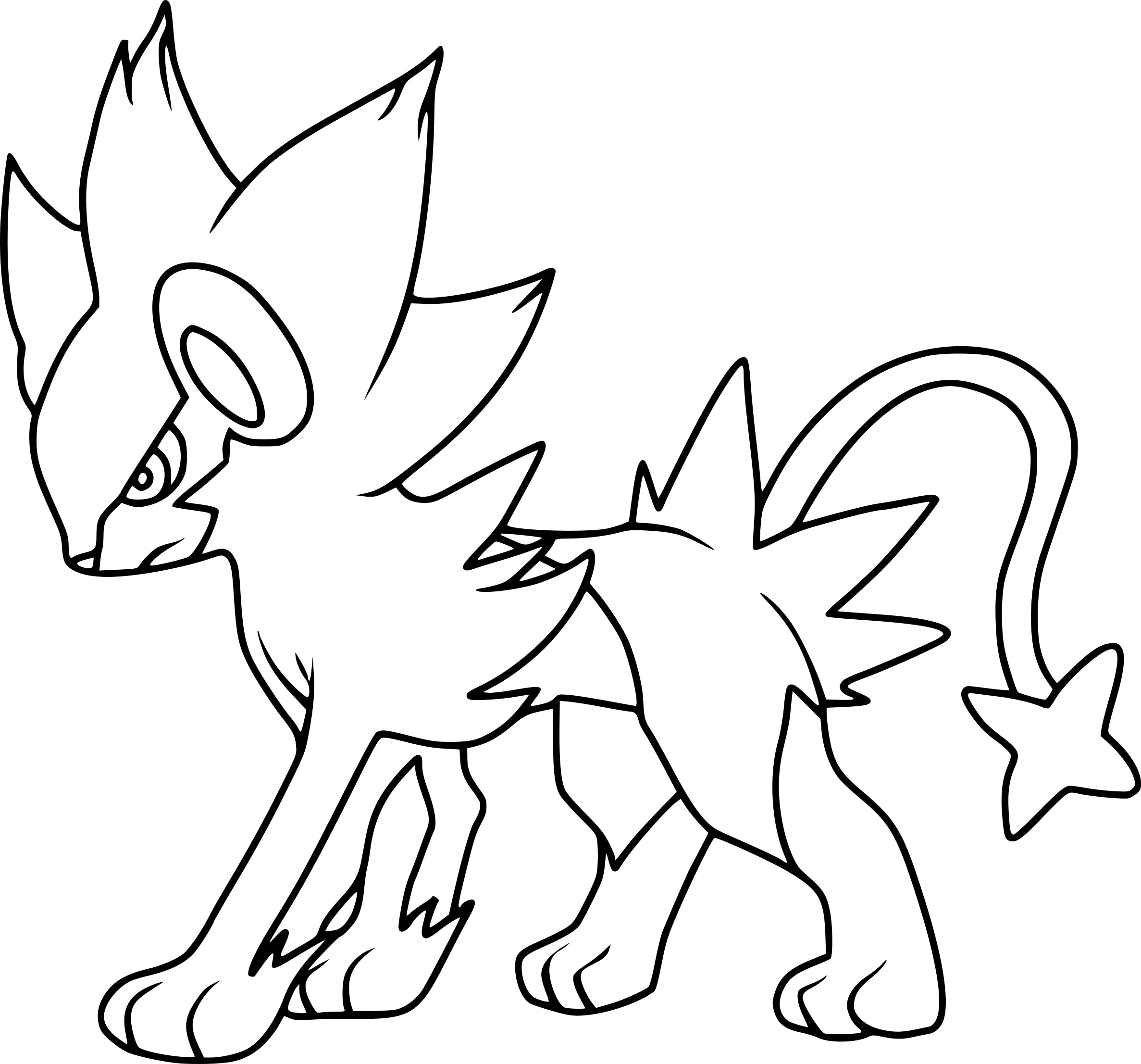Luxray Pokemon on animal coloring pages