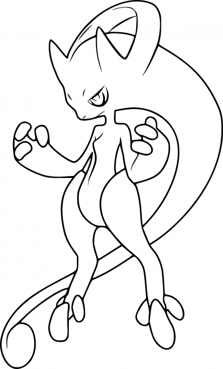 Coloriage m ga mewtwo y pokemon imprimer sur coloriages - Modele dessin pokemon ...