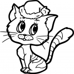 Coloriage Noel chat