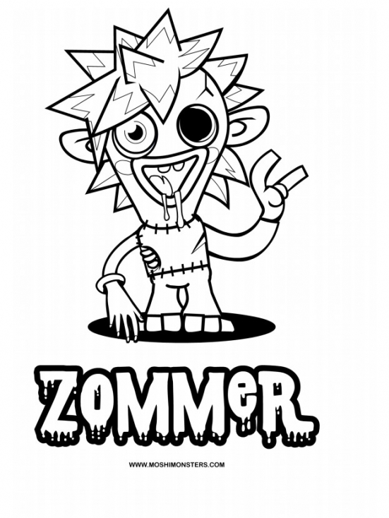 Coloriage Moshi Monsters Zommer à imprimer