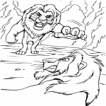 Coloriage Combat Roi Lion