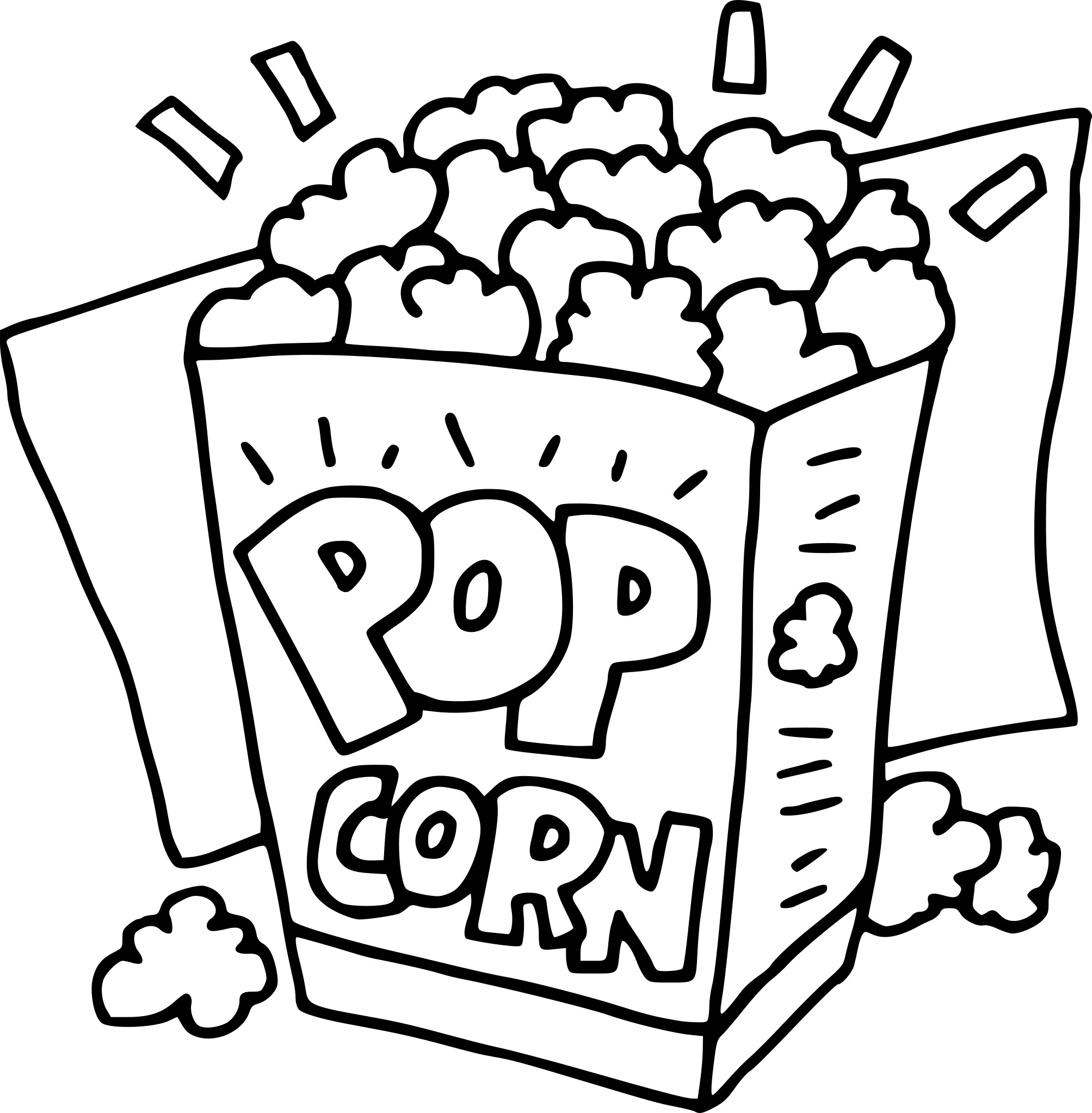 Popcorn on animal coloring pages