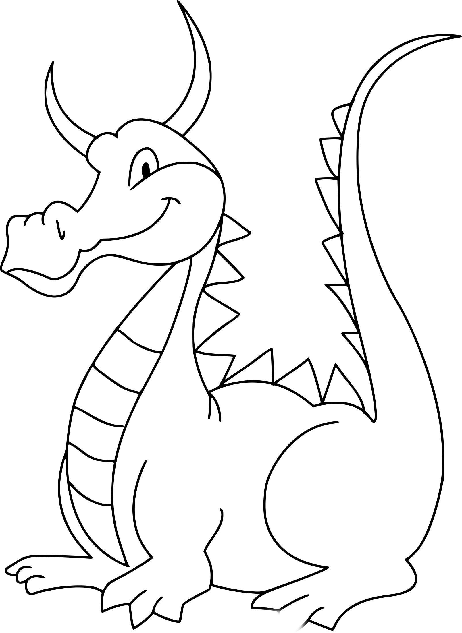 Coloriage Dragon Simple à Imprimer Sur Coloriages Info