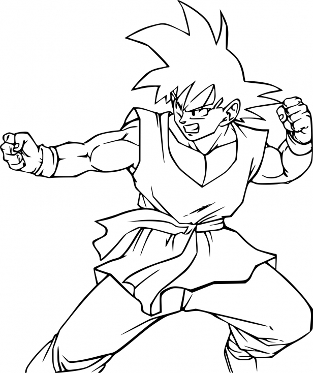 Coloriage son goku combat imprimer sur coloriages info - Coloriage dragon ball z sangoku ...