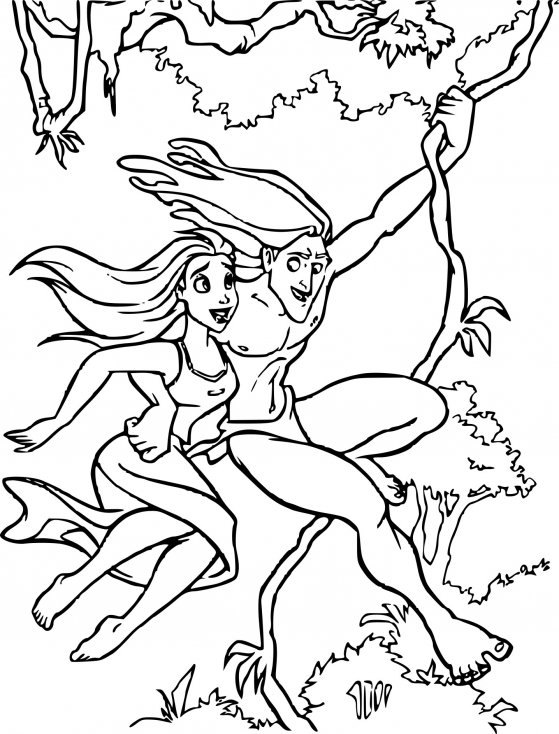 Coloriage Jane à la jungle à imprimer