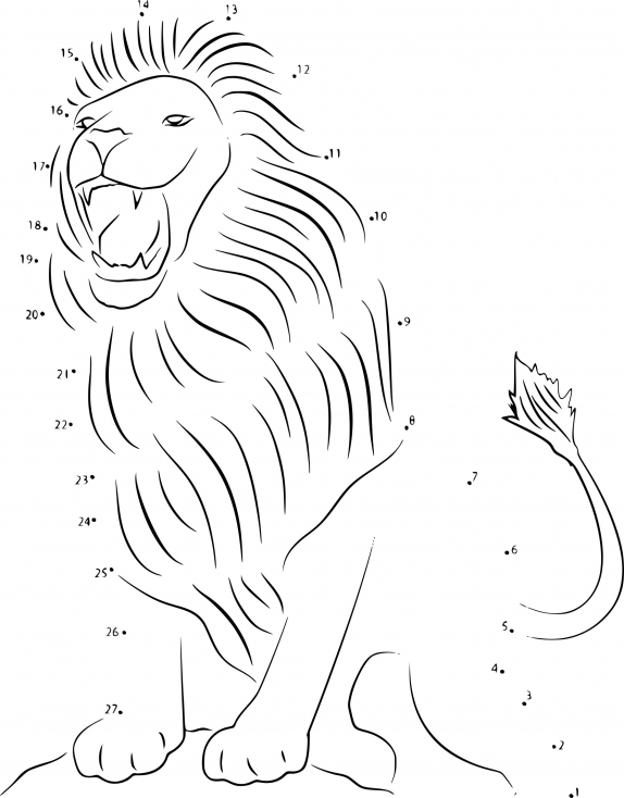 Point à relier Lion dessin