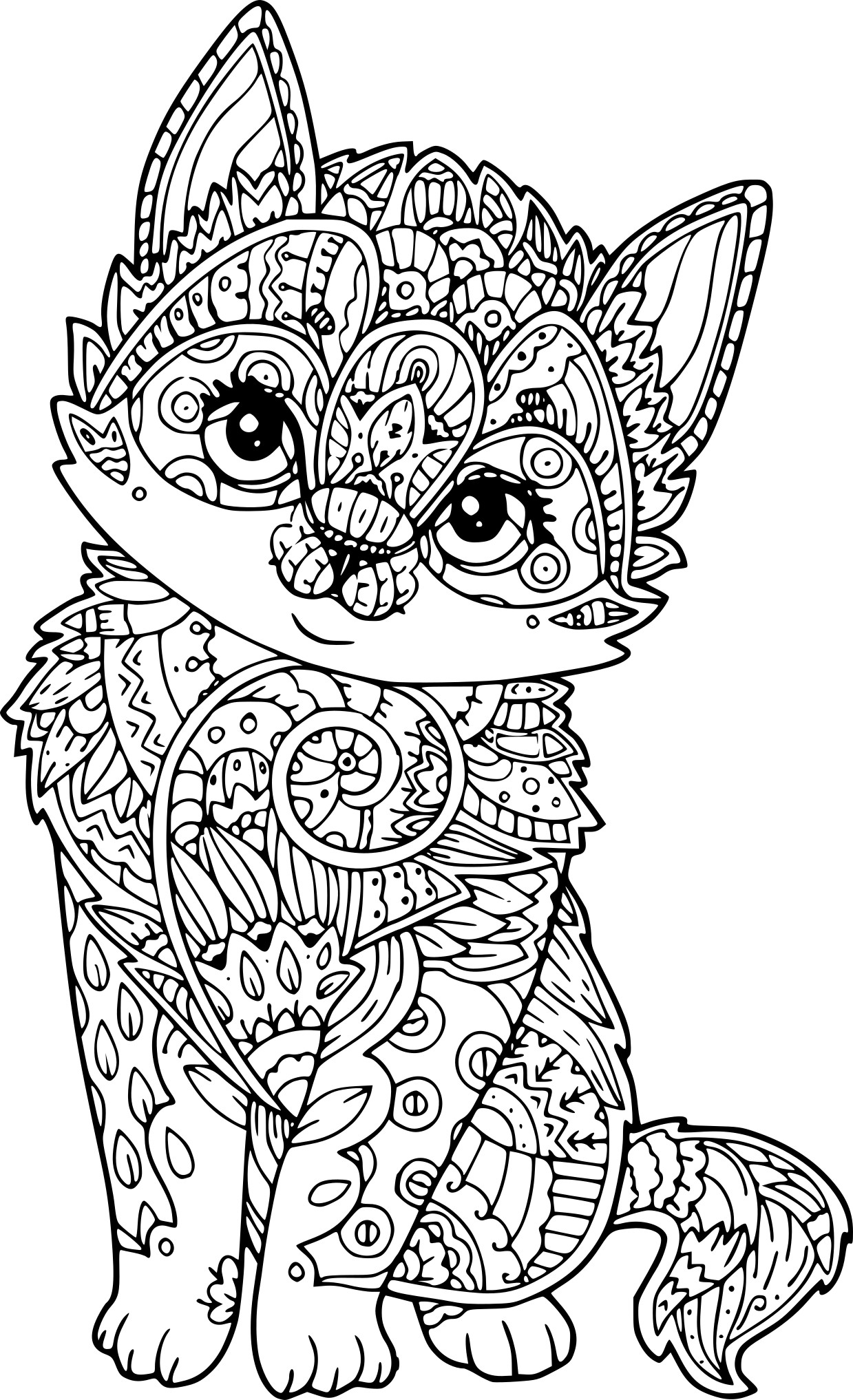 Coloriage chat antistress imprimer sur coloriages info - Coloriage de chat ...
