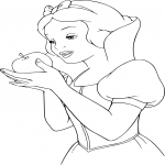 Coloriage Blanche Neige pomme