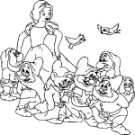 Coloriage Blanche Neige 7 nains