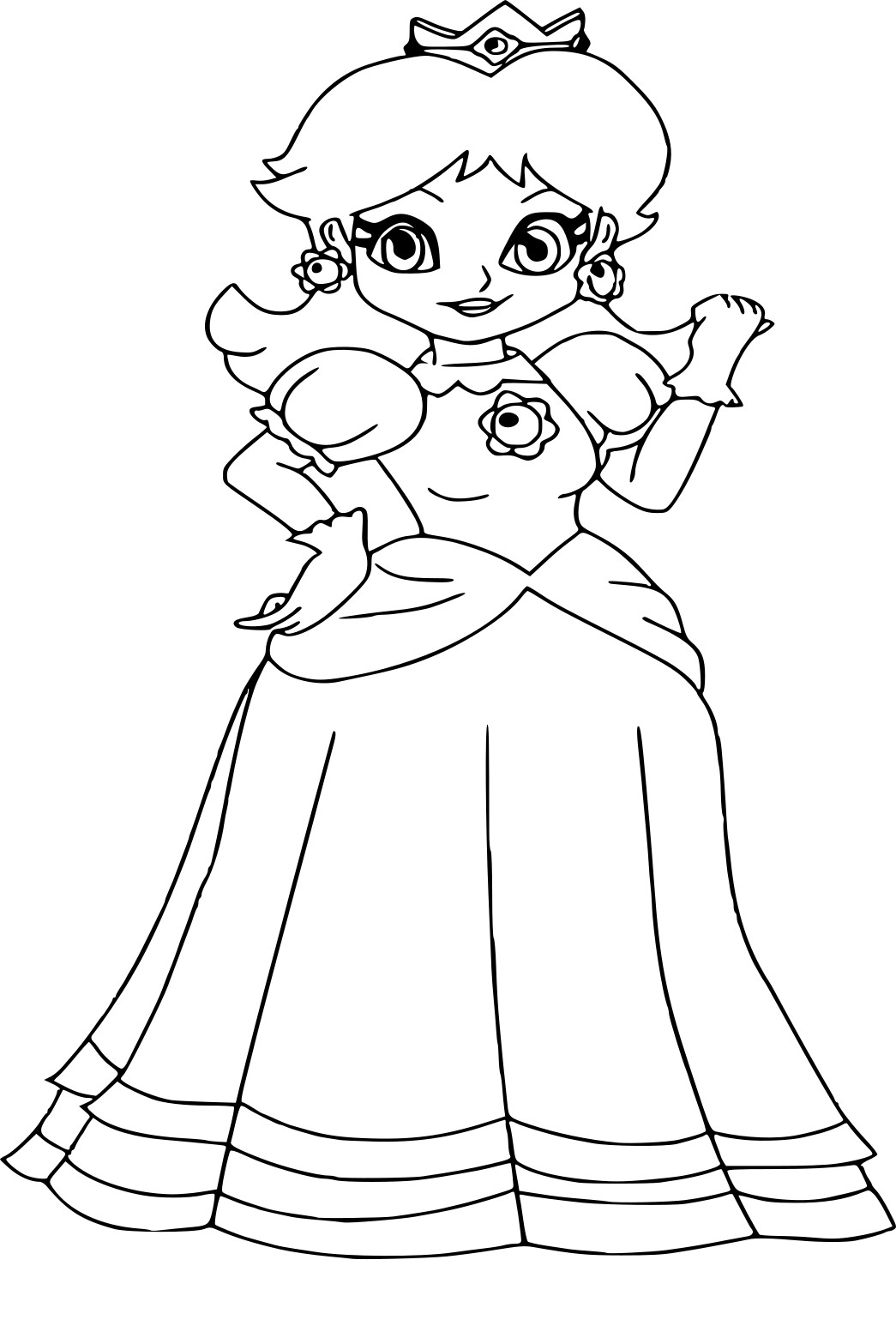 Coloriage princesse peach colorier les enfants - Comment dessiner peach ...