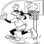 Coloriage Dingo joue au basketball