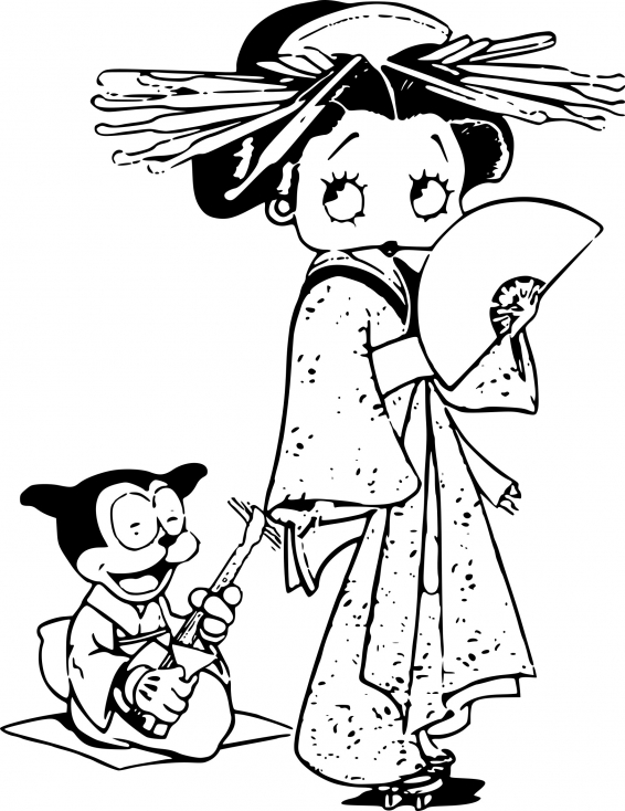 Coloriage Betty Boop chinoise à imprimer