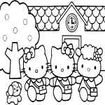 Coloriage Ecole Hello Kitty