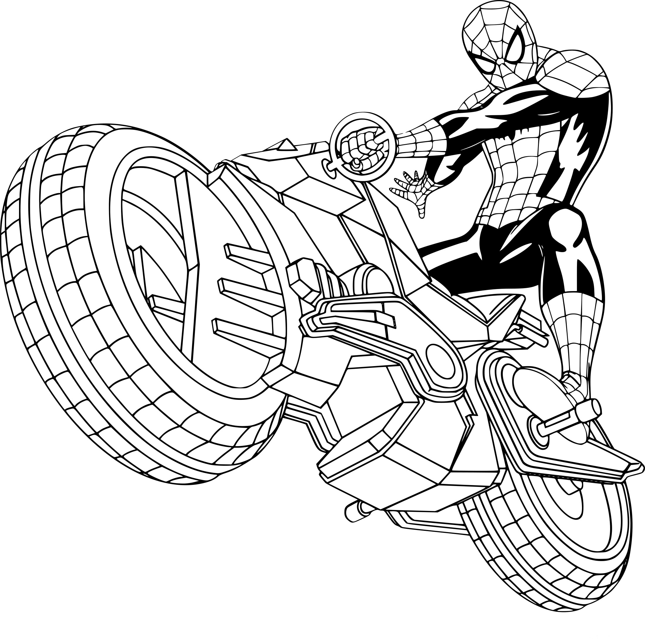 Coloriage Moto Spiderman Hotelhetgetij