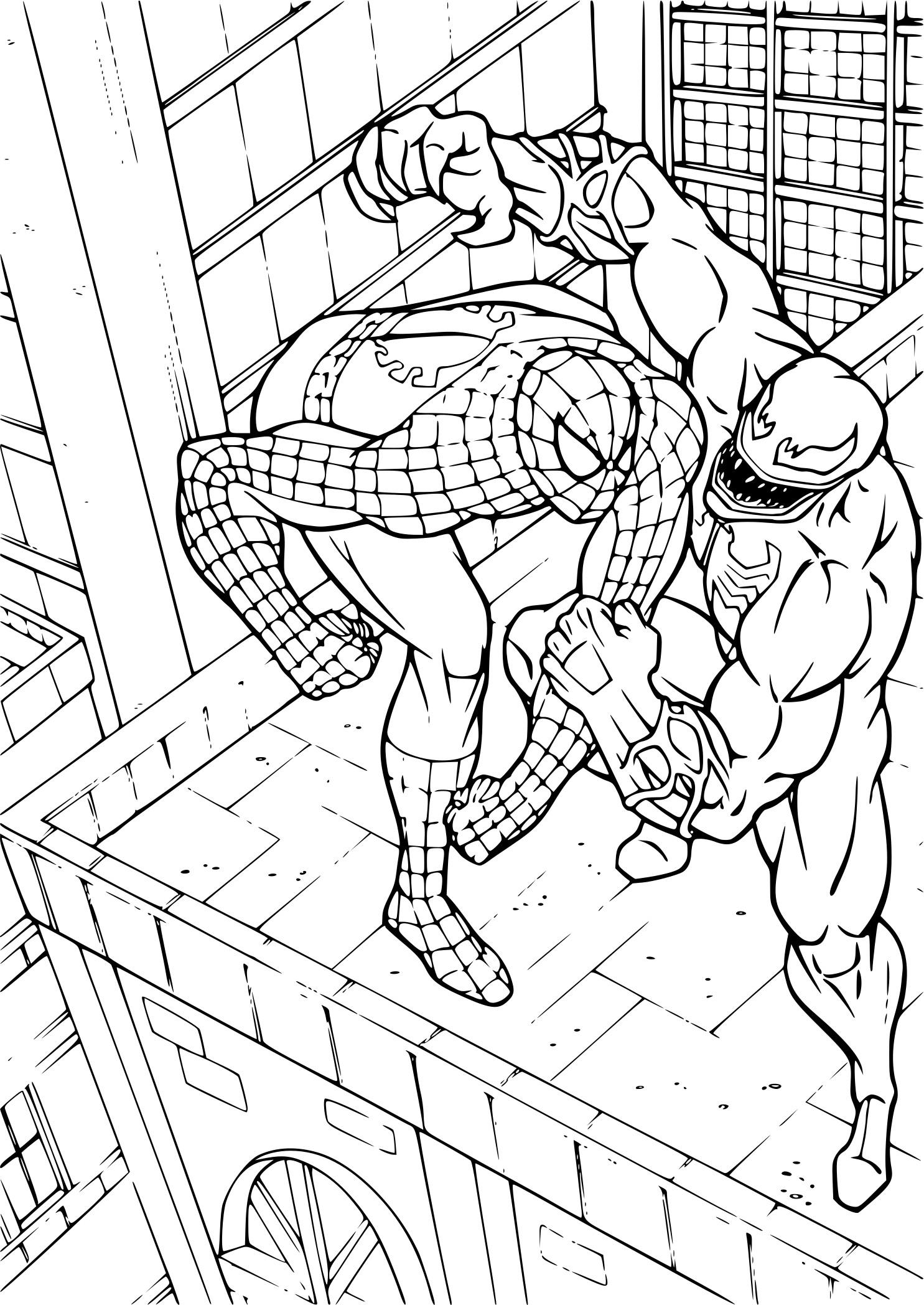 Coloriage Spiderman Contre Venom A Imprimer Sur Coloriages Info