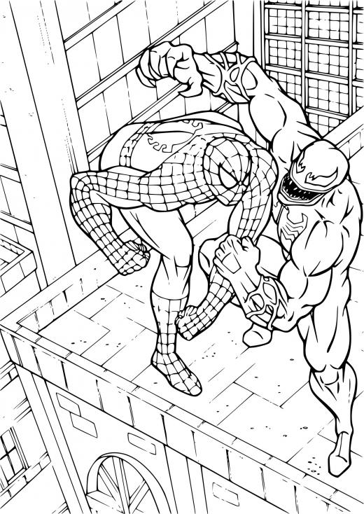 Coloriage Spiderman contre Venom à imprimer