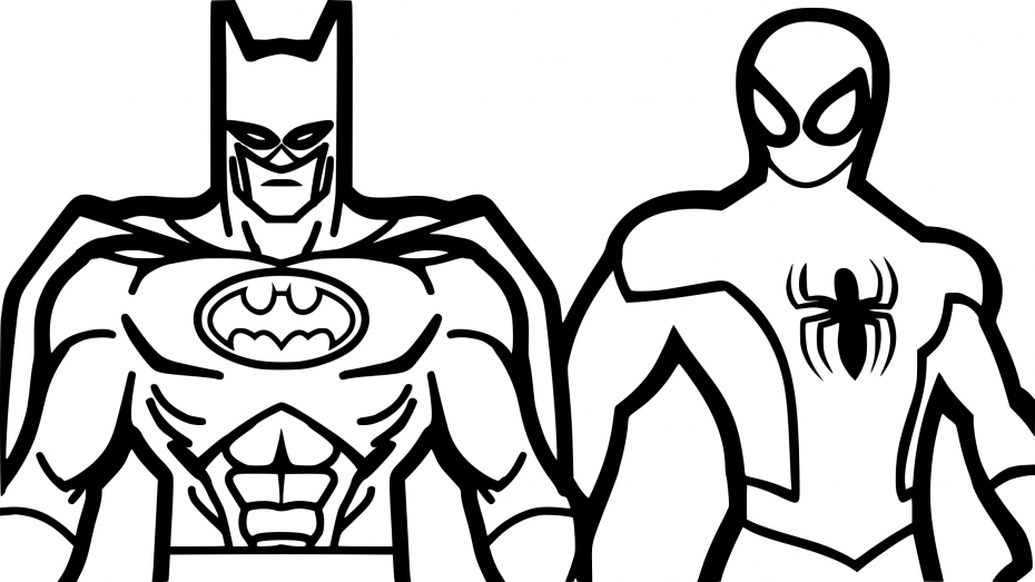 Coloriage Spiderman et Batman à imprimer