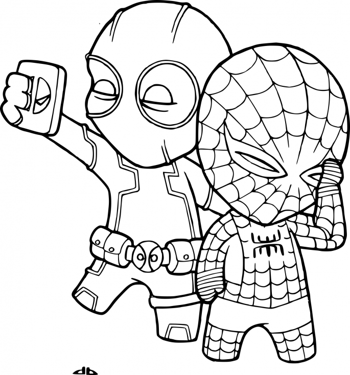 Coloriage Spiderman et Deadpool à imprimer