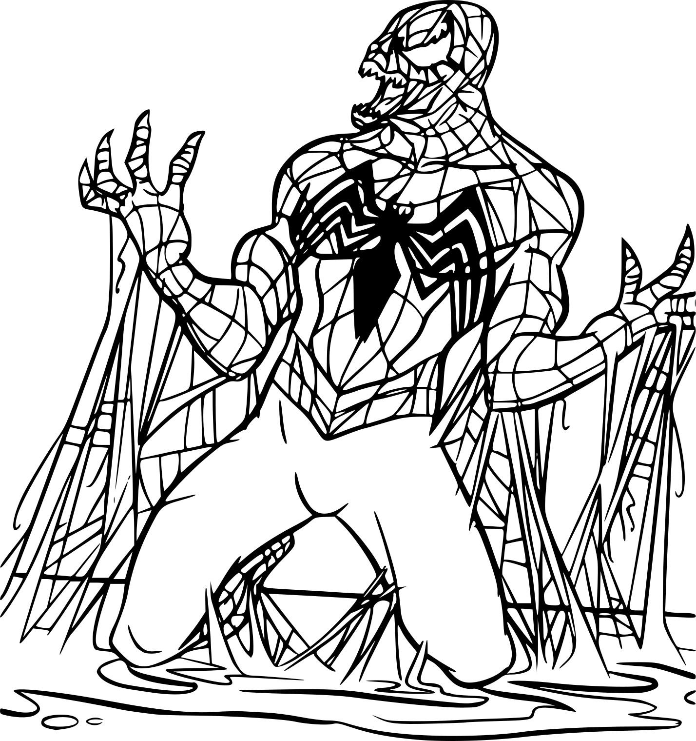 Coloriage Spiderman noir à imprimer sur COLORIAGES .info
