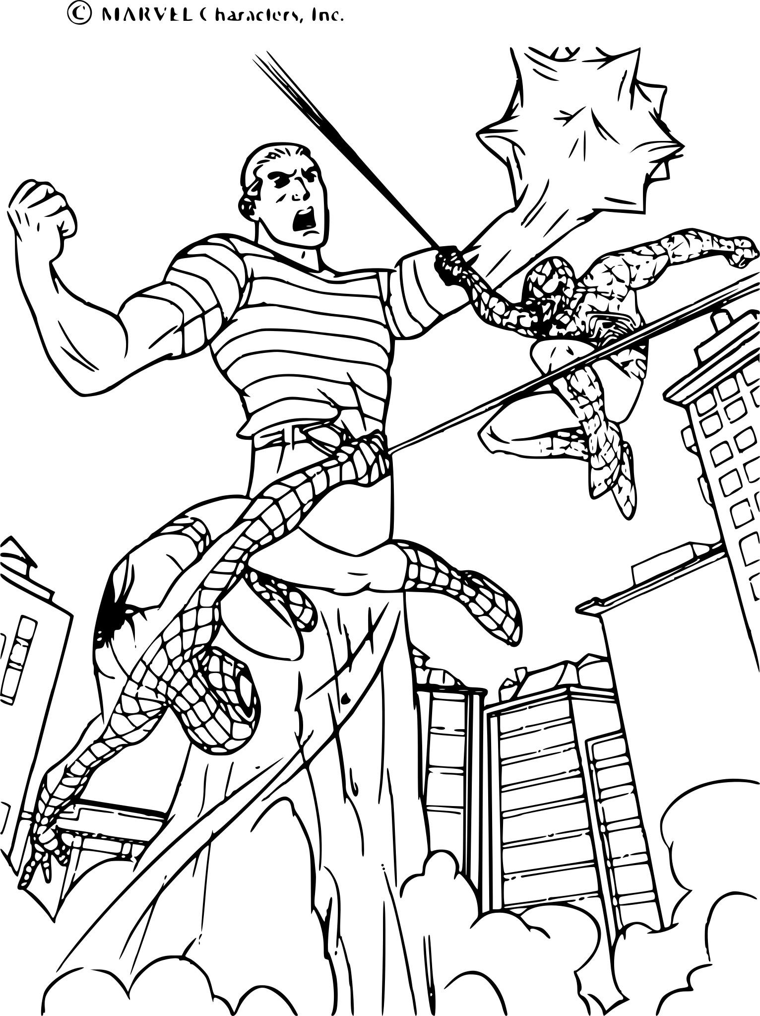 Coloriage Spiderman bagarre à imprimer sur COLORIAGES .info