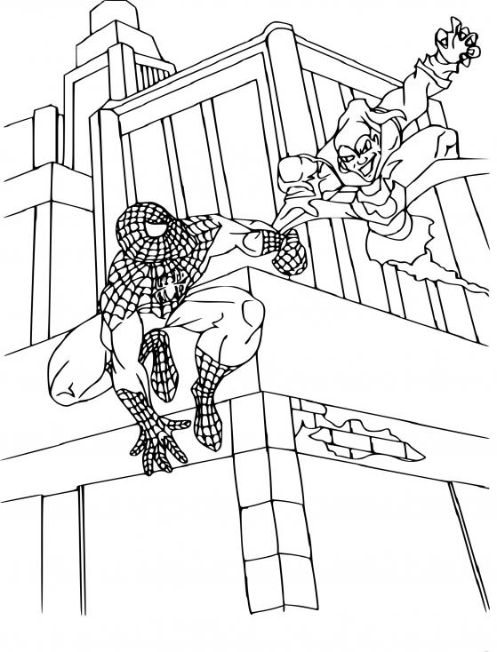 Coloriage Spiderman bouffon vert à imprimer
