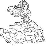 Disney princesse Barbie dessin à colorier
