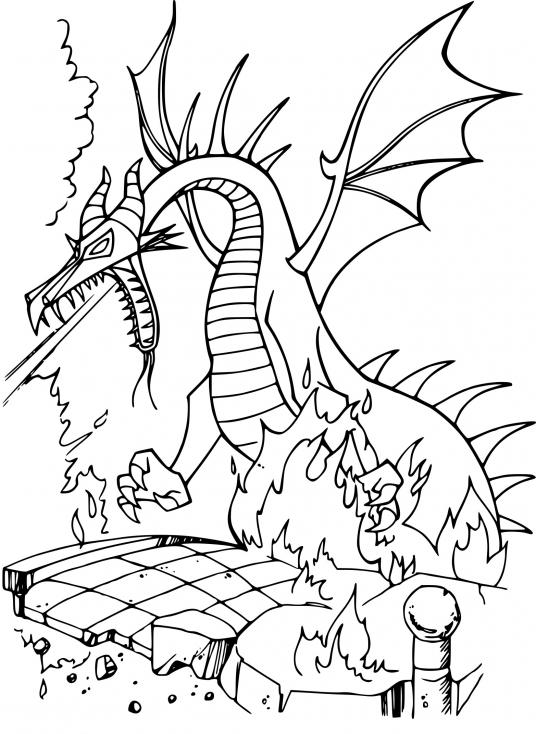 Coloriage Dragon Belle au bois dormant à imprimer