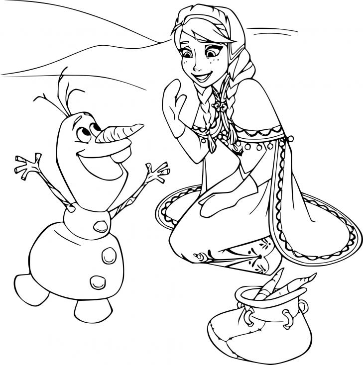 Coloriage Elsa et Olaf à imprimer