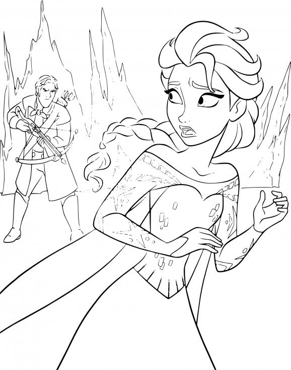 Coloriage La Reine des neiges Elsa à imprimer