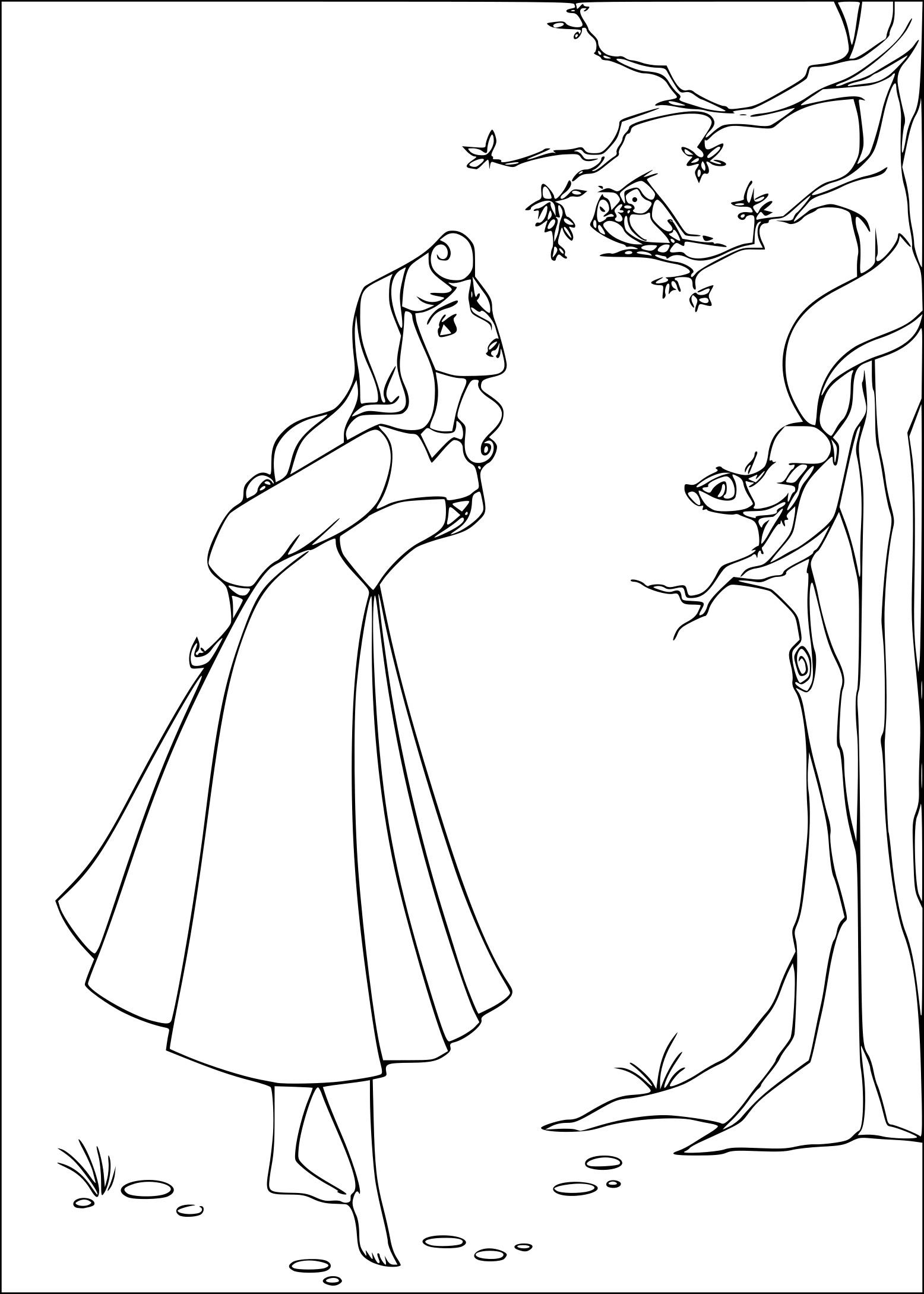 Coloriage Princesse Belle Au Bois Dormant à Imprimer Sur