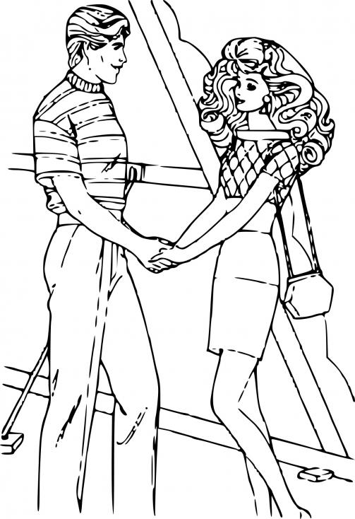 Coloriage Barbie et Ken dessin à imprimer