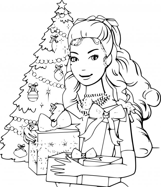 Coloriage Barbie Noel à imprimer