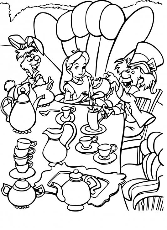 Coloriage Alice au pays des merveilles Disney à imprimer