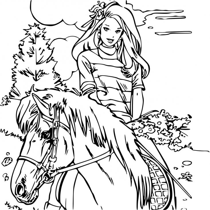 Coloriage Barbie avec cheval à imprimer