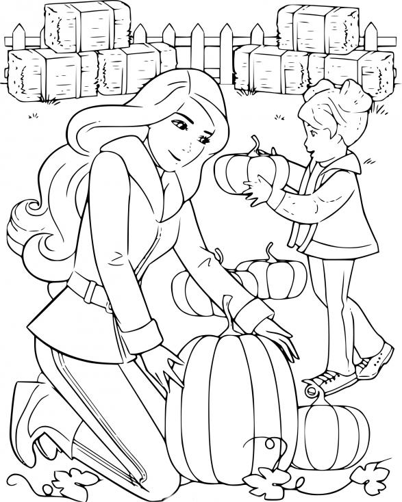 Coloriage Barbie halloween à imprimer
