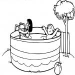 Coloriage Enfant piscine