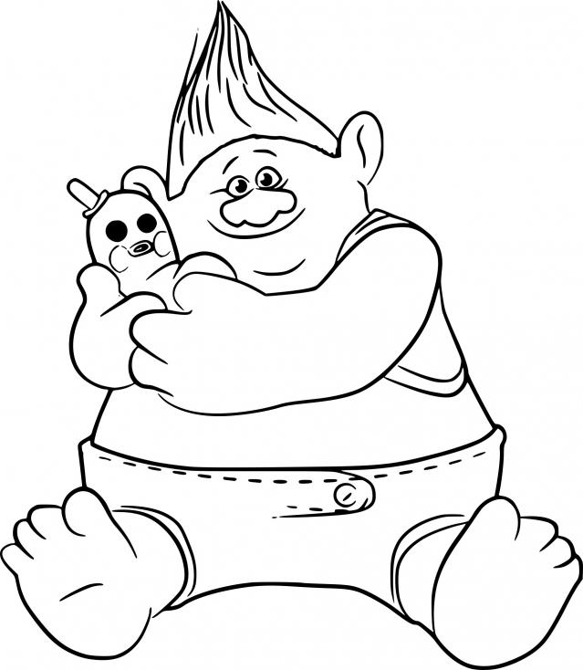Coloriage Les trolls Biggie à imprimer