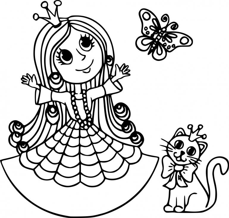 Coloriage Princesse avec chat à imprimer
