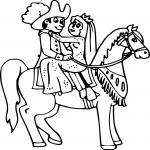 Princesse avec cheval dessin à colorier