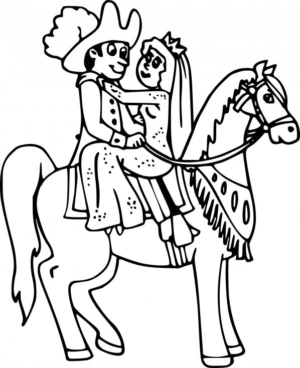Coloriage Princesse avec cheval à imprimer